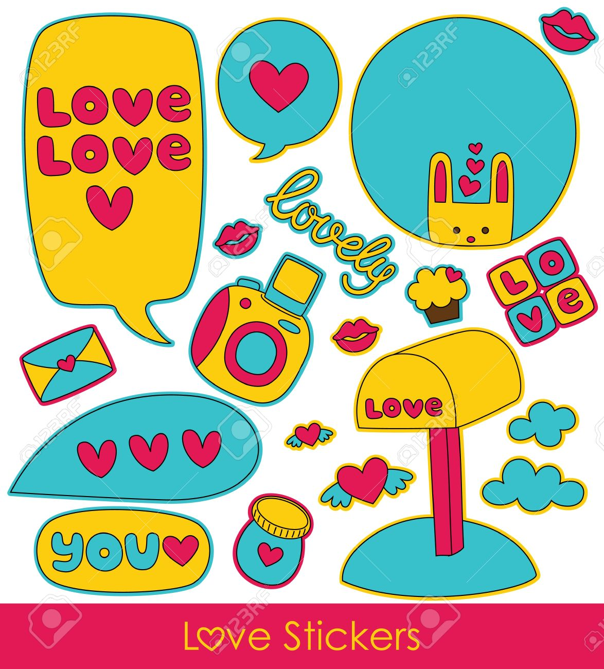 Love Stickers Collection Vector Illustration Stock