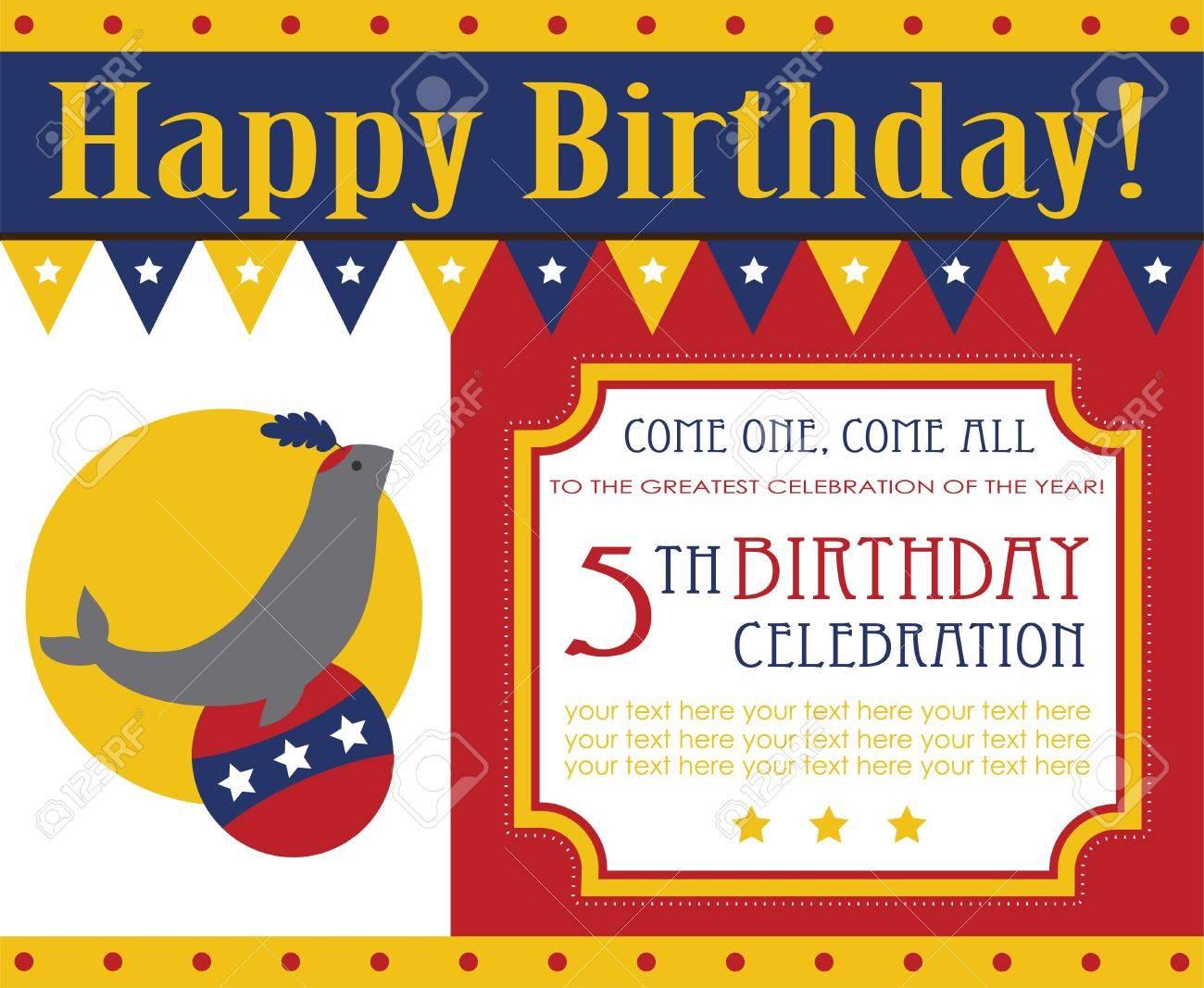 Kid Birthday Invitation Card Design. Vector Illustration Royalty ...