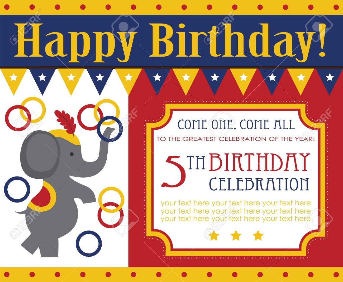 Kid Birthday Invitation Card Design Vector Illustration Stock