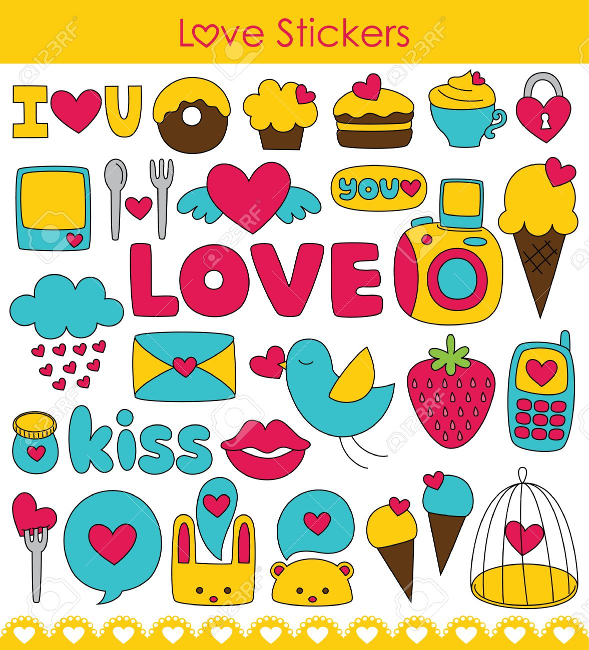Love Stickers Collection Vector Illustration Royalty Free Cliparts