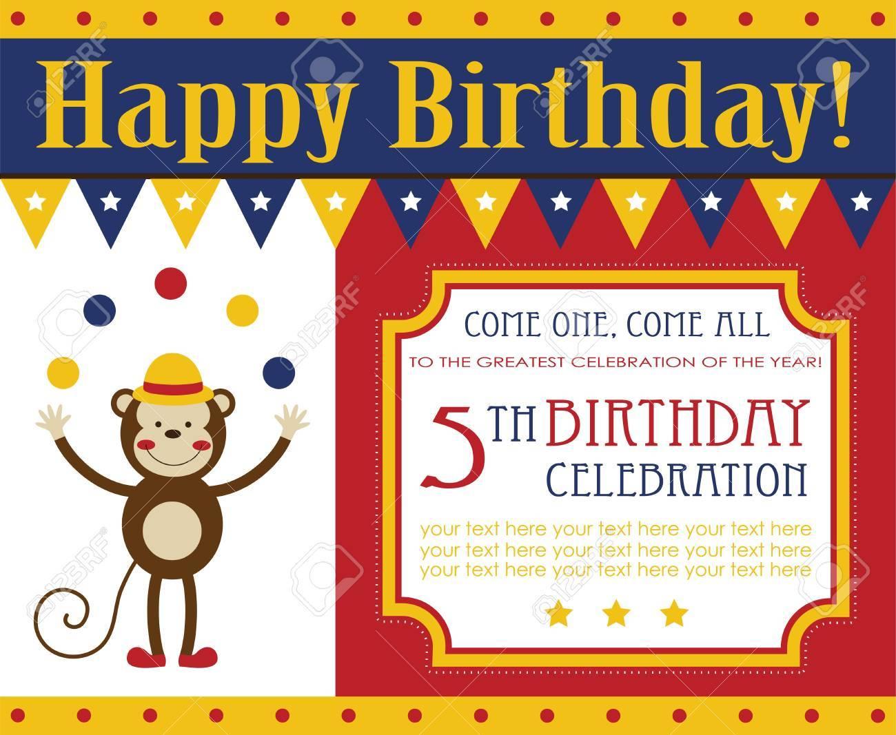 Diseño De Tarjeta De Invitación De Cumpleaños Para Niños Ilustración Vectorial