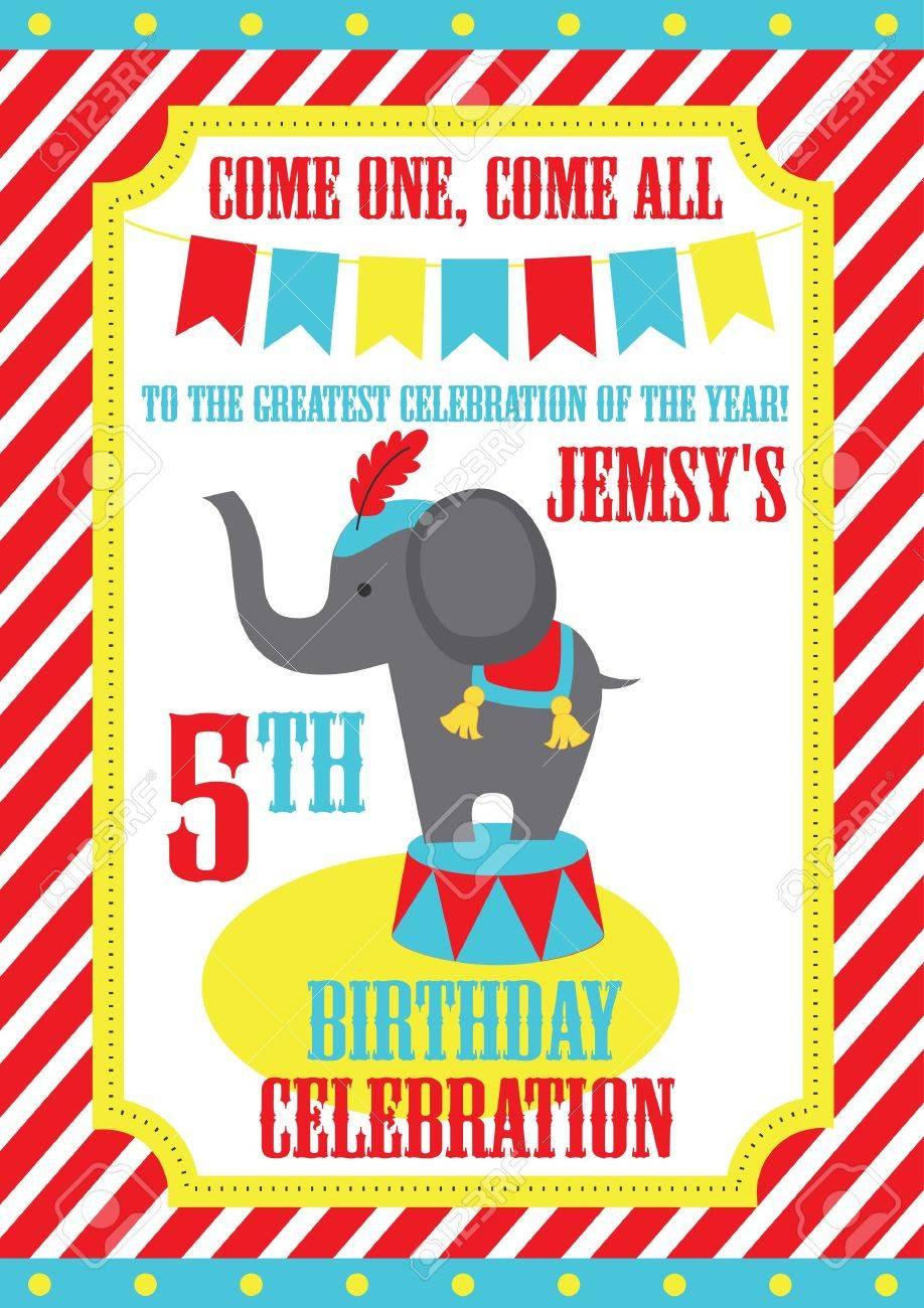 Kid Birthday Invitation Card Design Vector Illustration Royalty