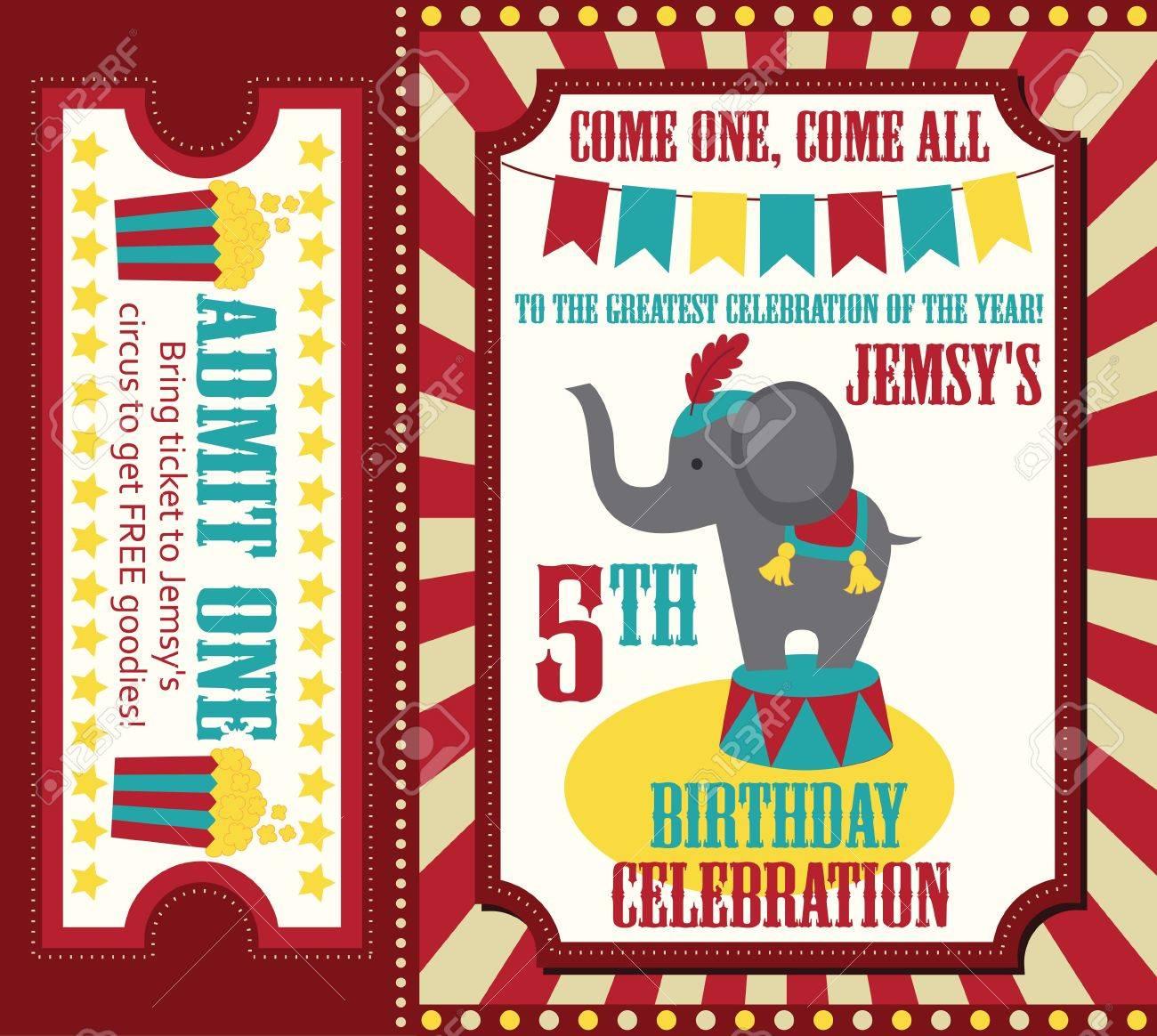 Kid Birthday Invitation Card Design Vector Illustration Royalty – Kid Birthday Invitation
