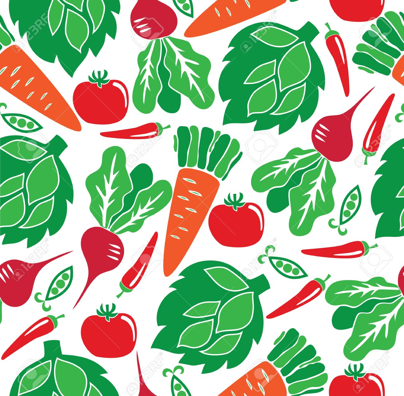 Vegetable garden graphic - Vector Vegetable Seamless Pattern Vector Illustration