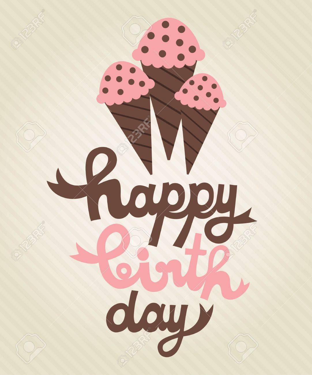 Cute Greeting Card With Ice Cream Vector Illustration Royalty Free