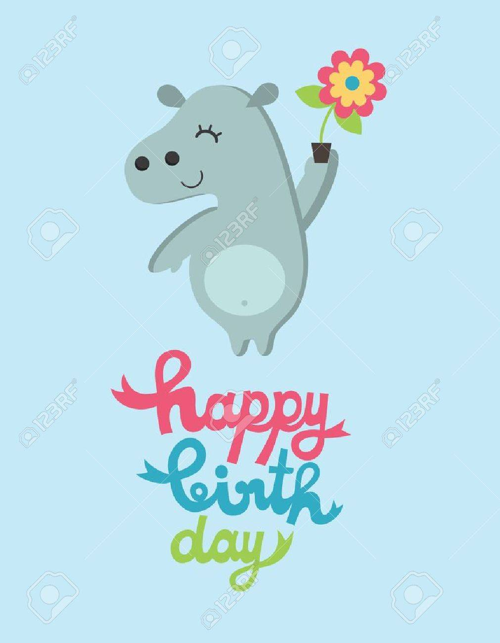 cute happy birthday card with fun hippo vector illustration royalty