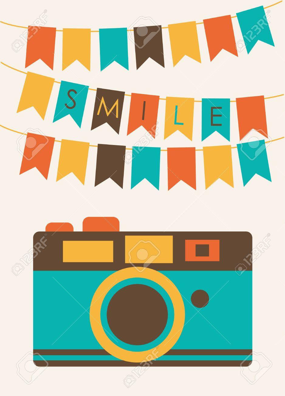 カメラ ベクトルのイラストがかわいいカード ロイヤリティフリー