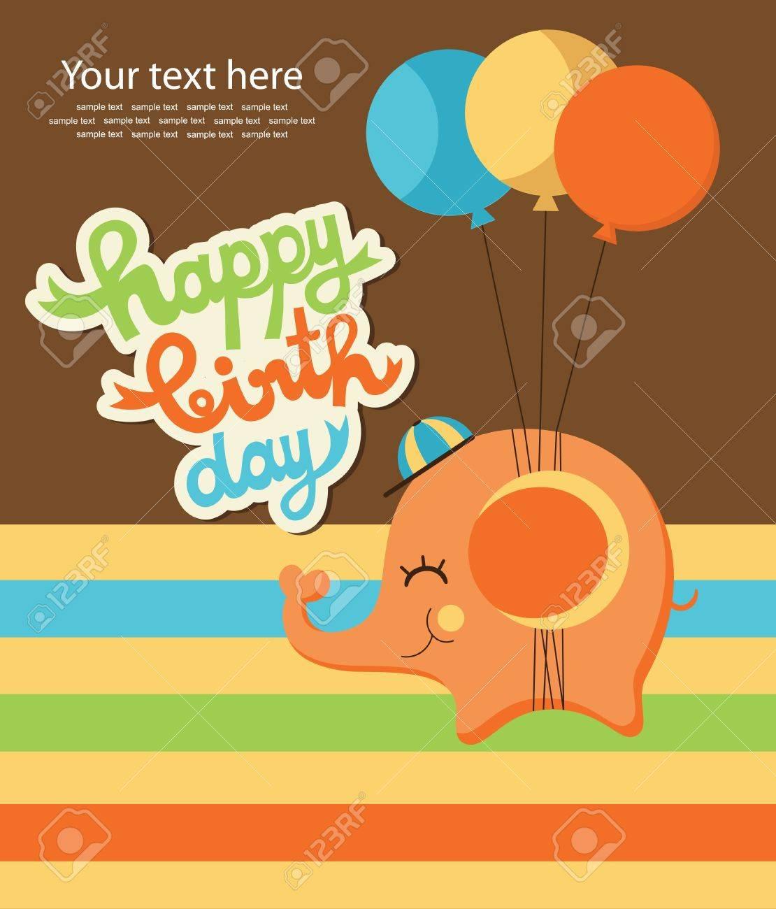 お誕生日おめでとうかわいい象ベクトル イラスト カード ロイヤリティ