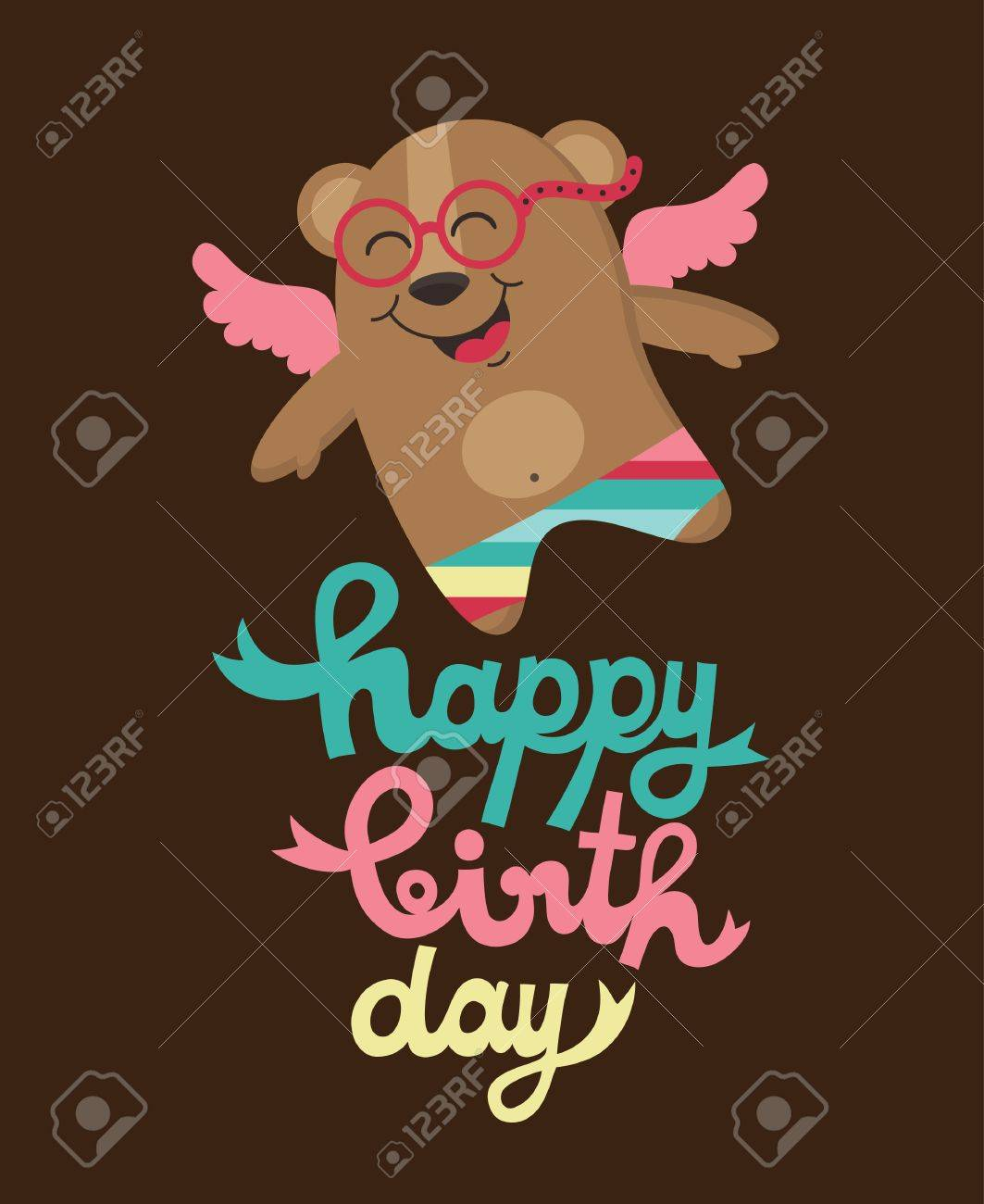 Cute Happy Birthday Card With Nice Bear Vector Illustration – Nice Happy Birthday Cards