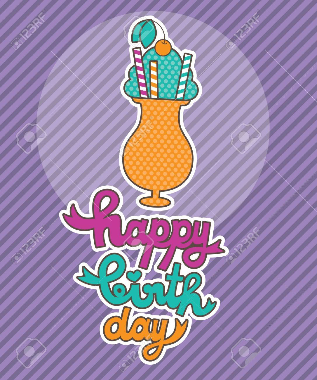 cute greeting card with ice cream  vector illustration Stock Vector - 22729887