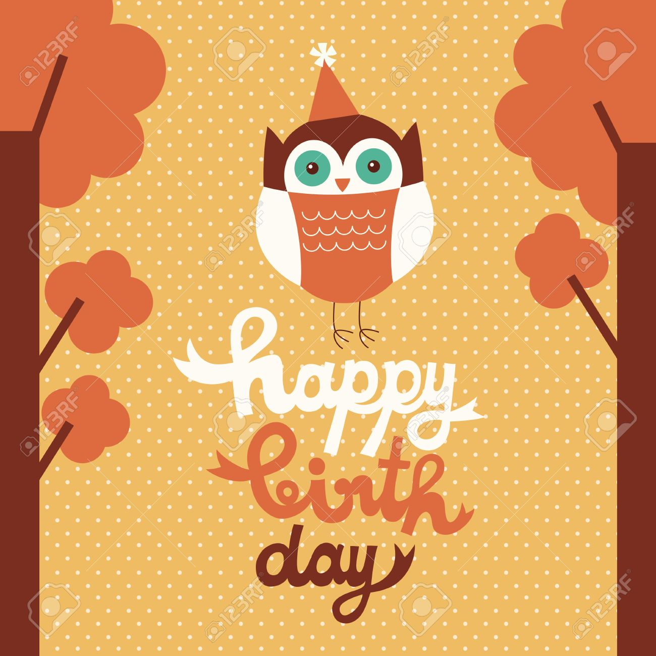 happy owl birthday card design. royalty free cliparts, vectors, Birthday card