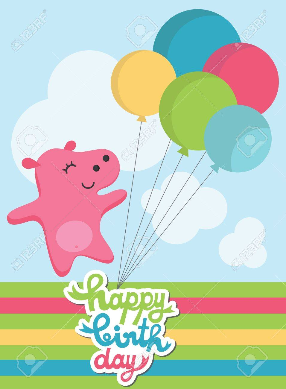 Cute happy birthday card with fun hippo vector illustration royalty cute happy birthday card with fun hippo vector illustration stock vector 22639500 bookmarktalkfo Images