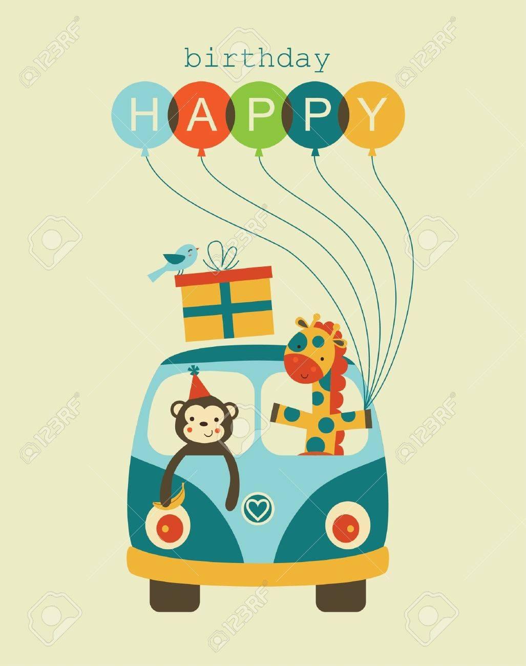 fun happy birthday card design. royalty free cliparts, vectors, Birthday card