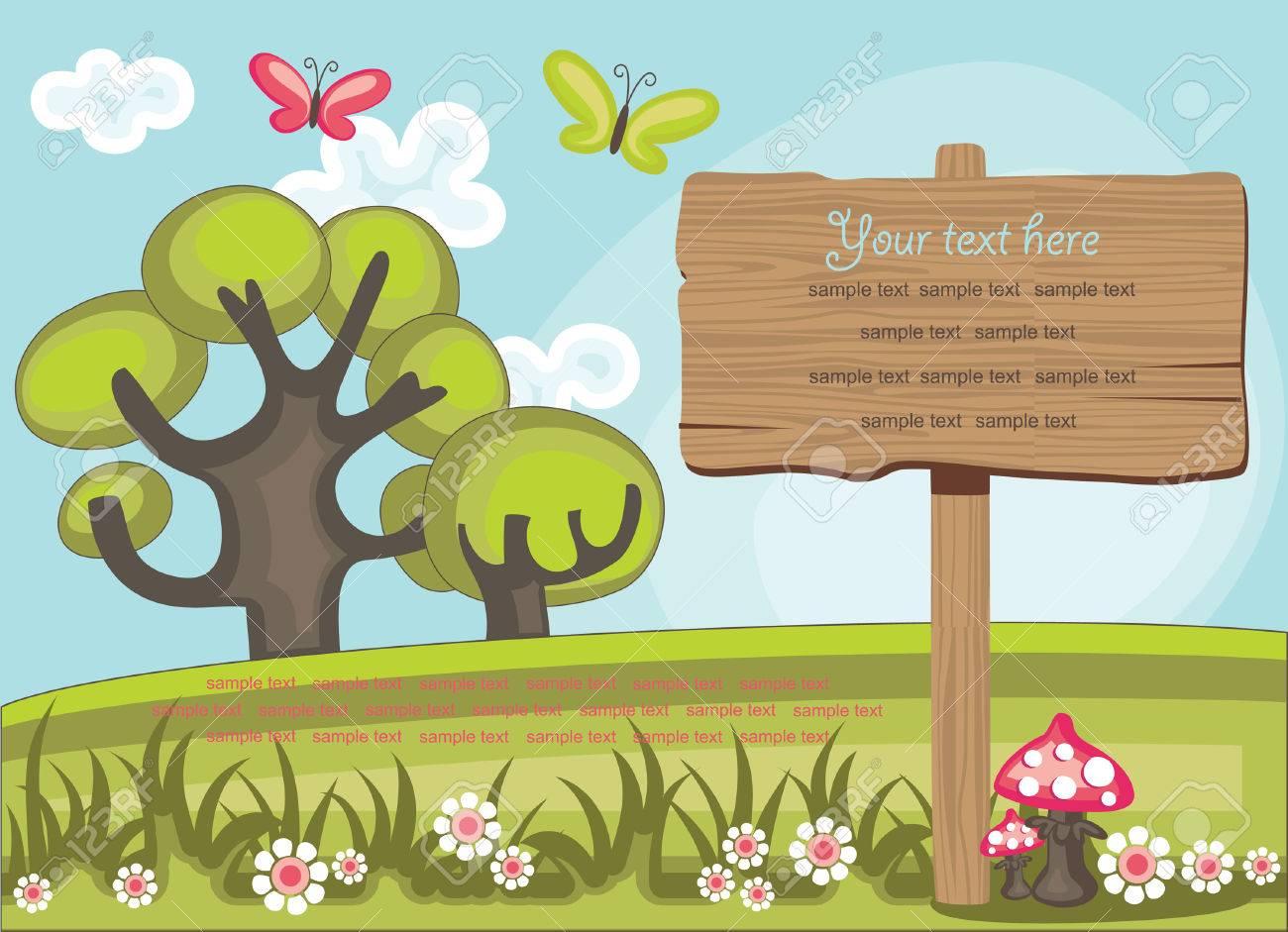 かわいい自然シーンのイラストの上に木の板のイラスト素材ベクタ