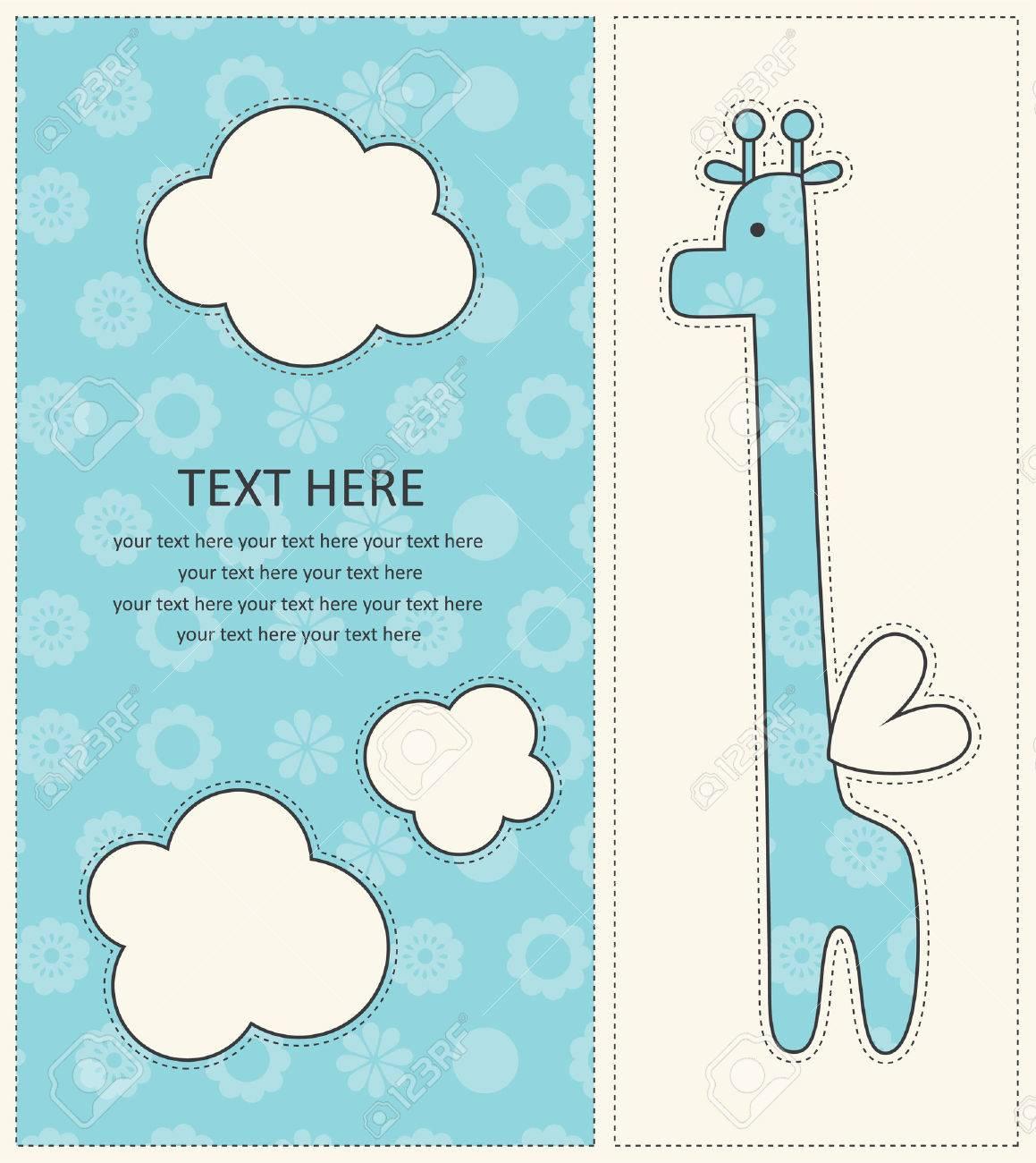 Baby Boy Announcement Card With Cute Giraffe Vector Illustration – Cute Baby Boy Announcements