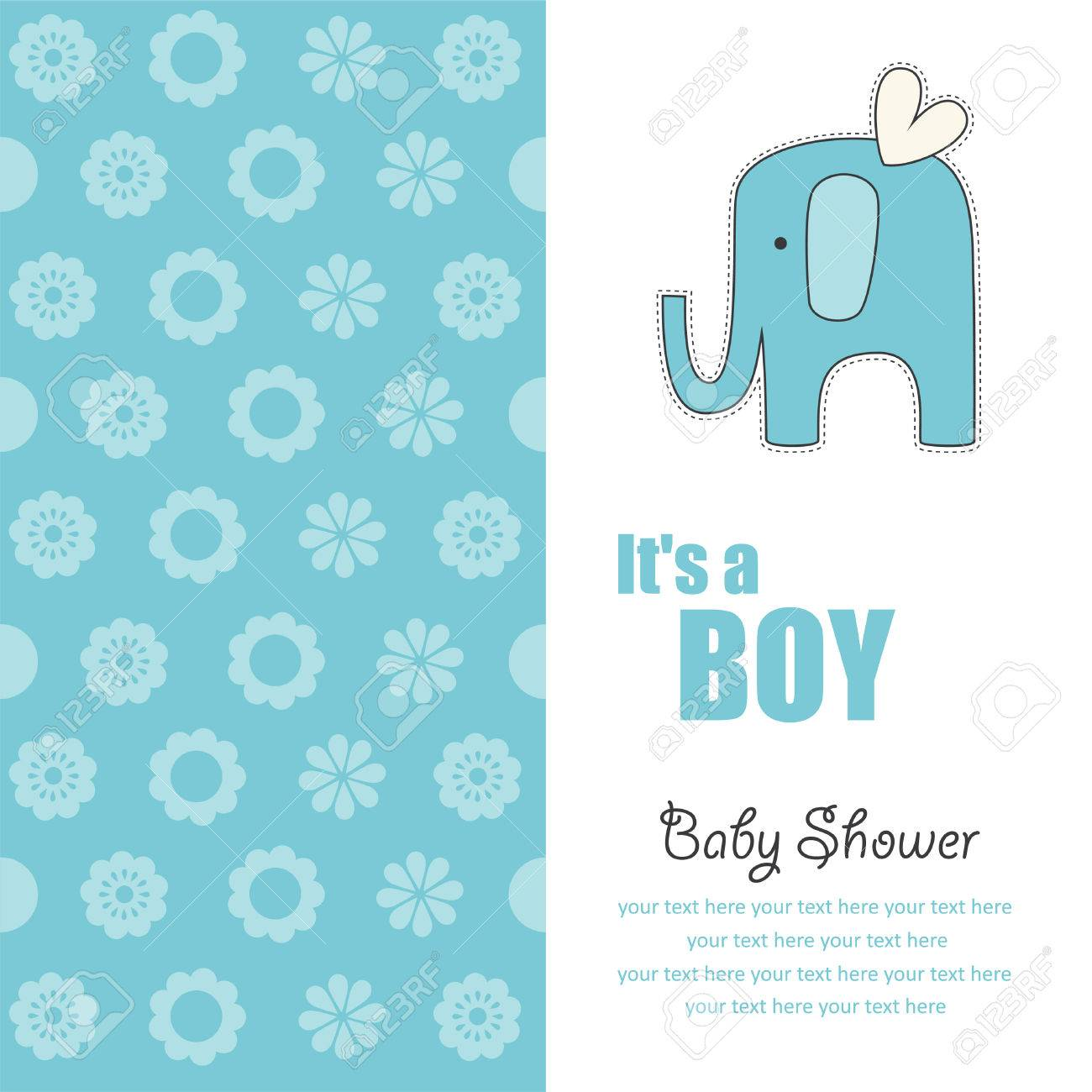 Baby Boy Announcement Card With Cute Elephant Vector Illustration – Cute Baby Boy Announcements