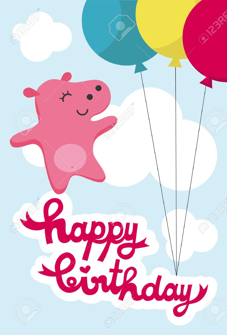 Cute Happy Birthday Card With Nice Pink Hippo Vector Illustration – Cute Happy Birthday Cards for Friends