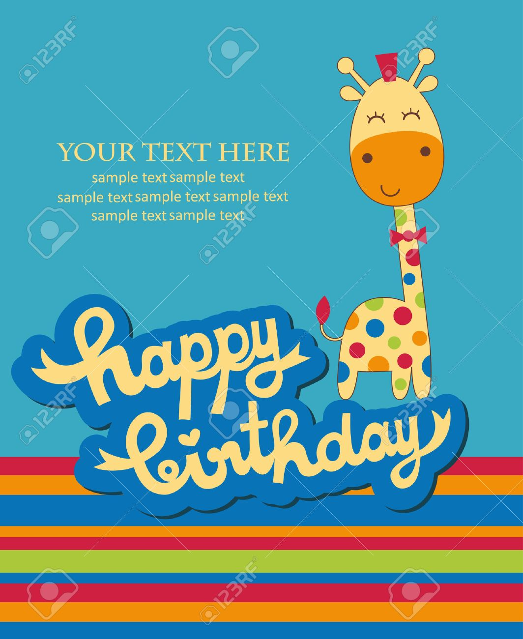 Cute Happy Birthday Card With Nice Giraffe Vector Illustration – Cute Happy Birthday Cards for Friends
