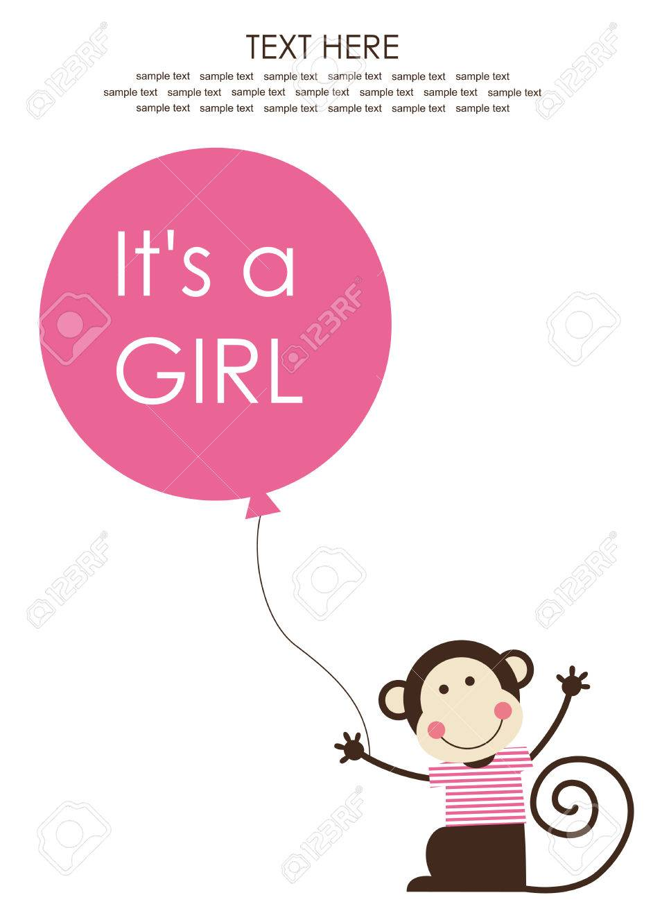 cute baby girl shower with fun monkey. vector illustration Stock Vector - 22590754