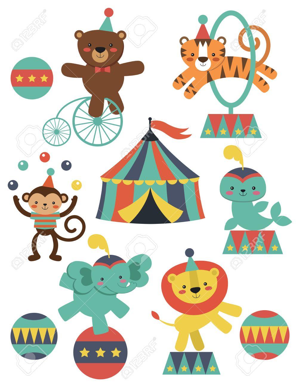 かわいいサーカスの動物のコレクション ベクトル イラストのイラスト