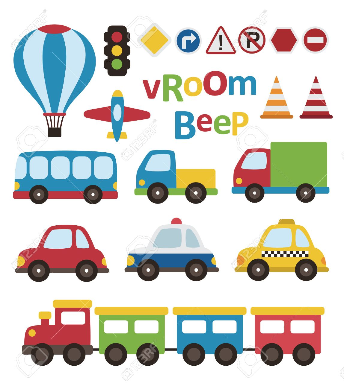 Cute Vehicle Collection. Vector Illustration Royalty Free Cliparts ...