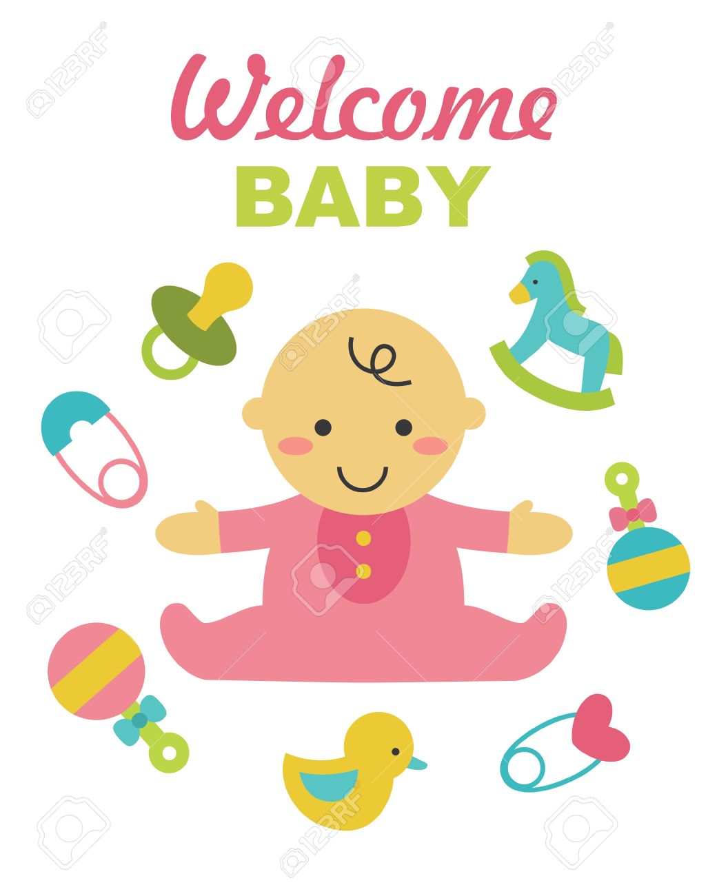 welcome baby card design vector illustration royalty free cliparts