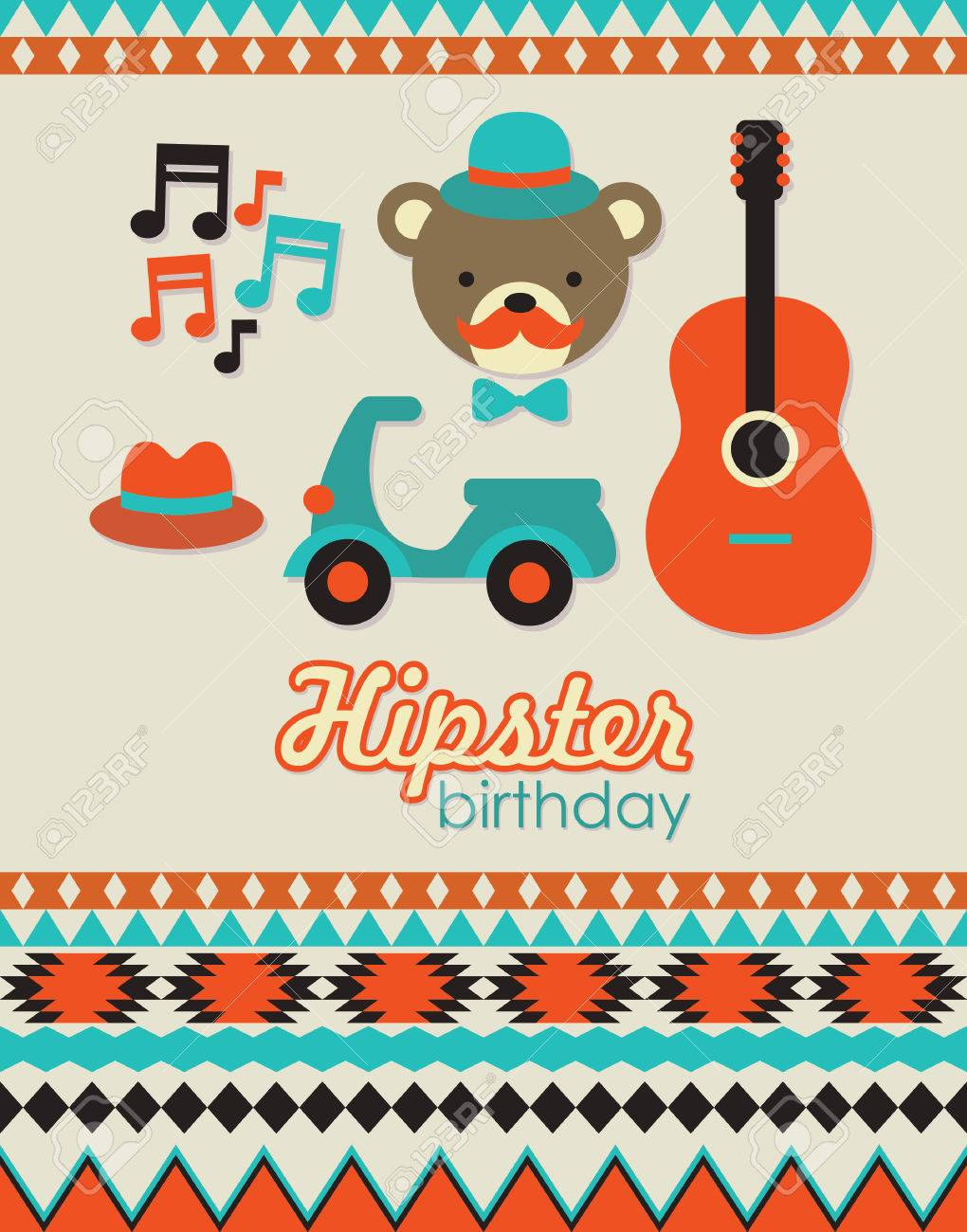 Hipster Birthday Card Design Vector Illustration Royalty Free – Hipster Birthday Cards