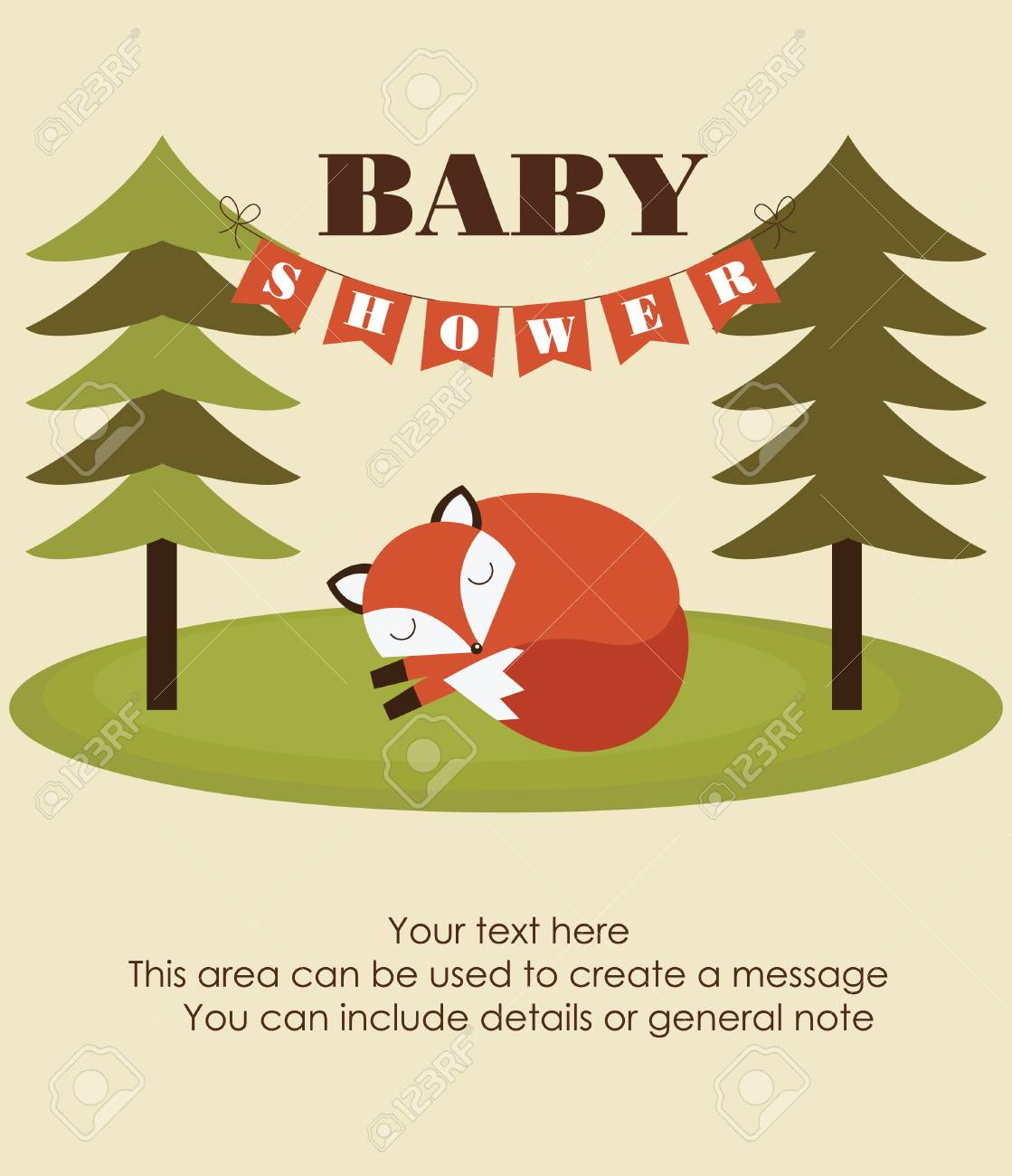 Forest Baby Shower Theme. Vector Illustration Stock Vector   26917531