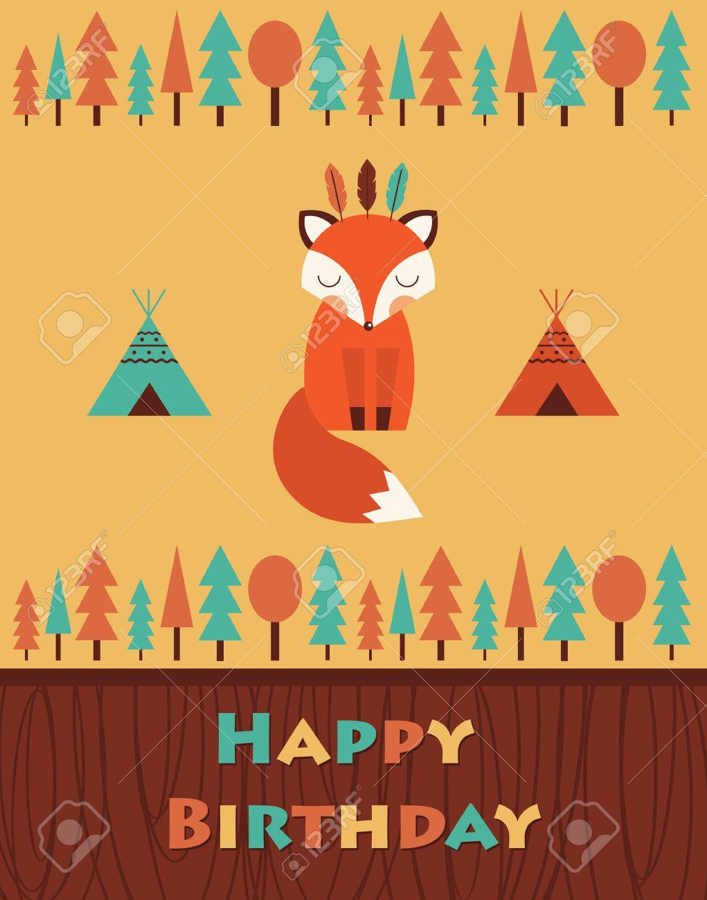 Happy Birthday Card With Cute Fox Vector Illustration Royalty – Happy Birthday Cards Cute