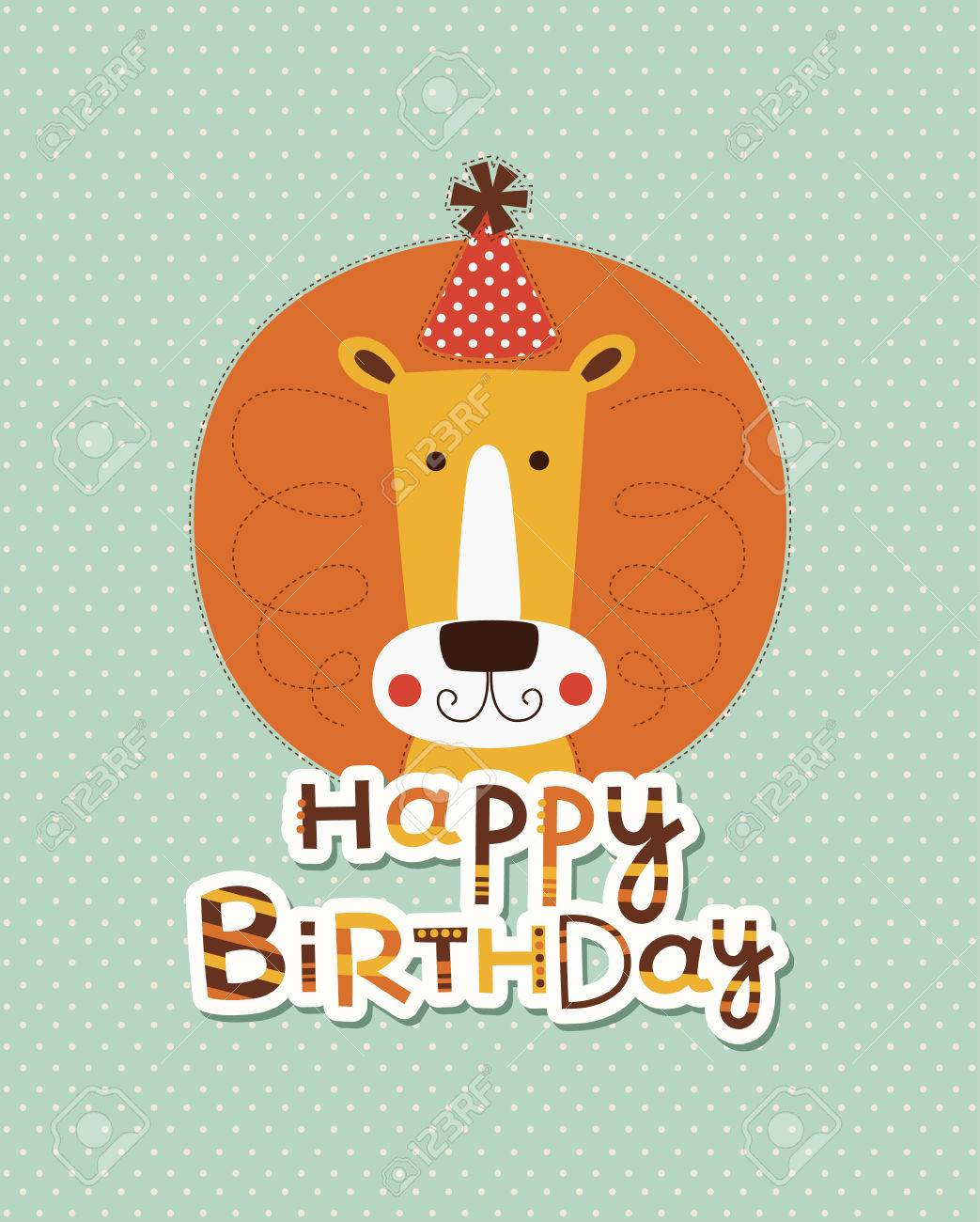 Cute Happy Birthday Card Design Vector Illustration Royalty Free – Cool Happy Birthday Cards