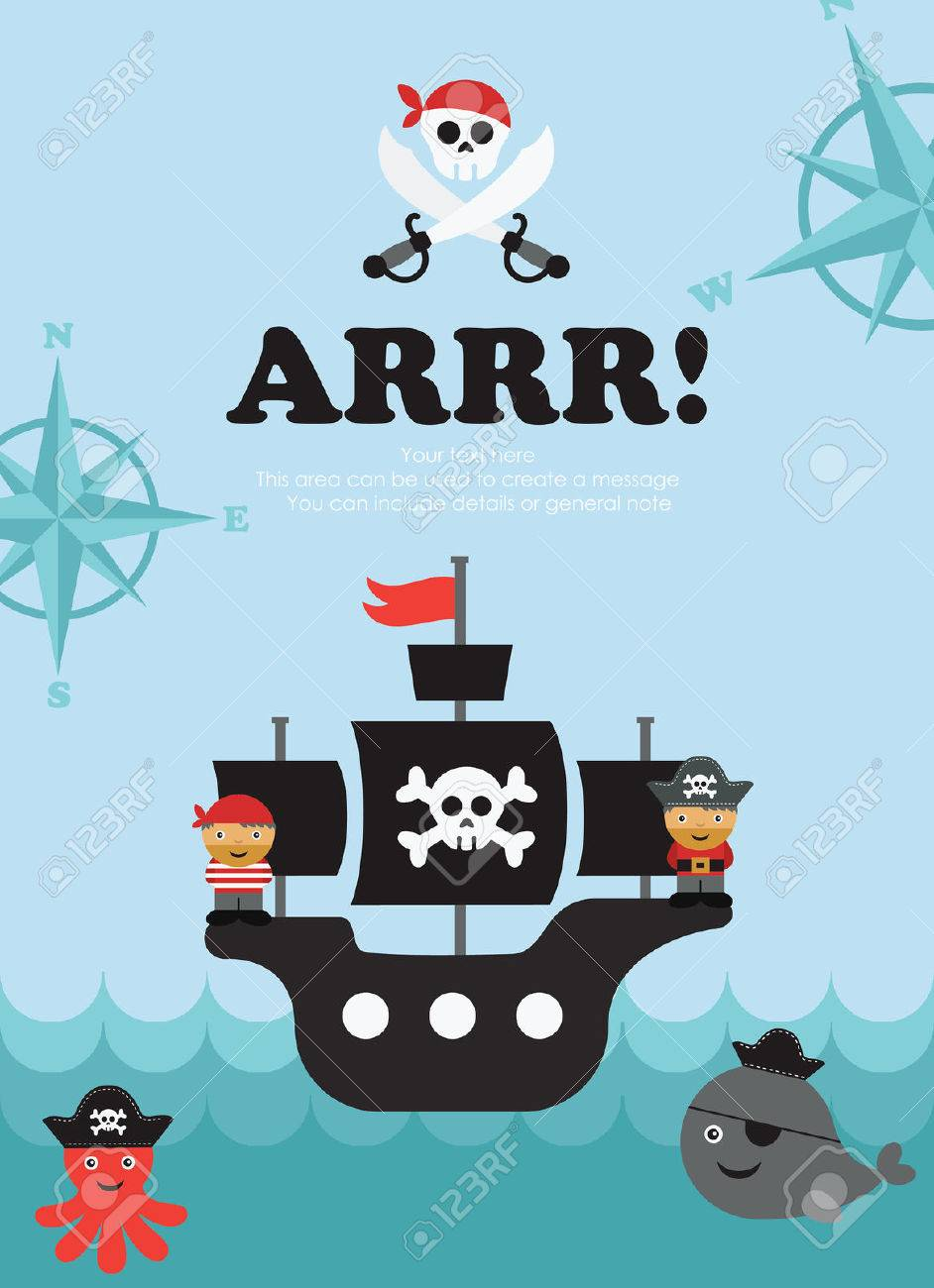 pirate card design. vector illustration Stock Vector - 27737603