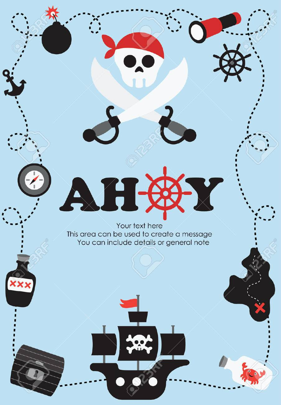 Pirate Card Design Vector Illustration Royalty Free Cliparts – Pirate Birthday Card