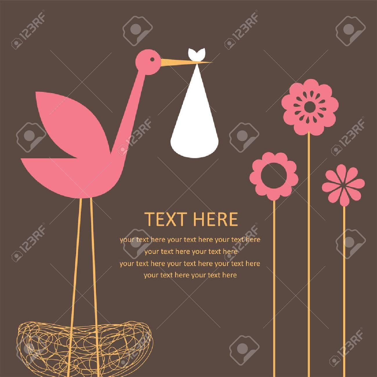 cute baby girl arrival card. - 27838554