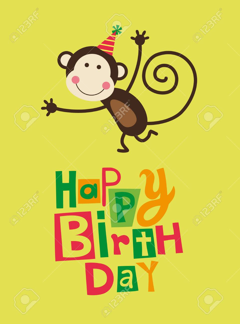 Cute Happy Birthday Card With Fun Monkey Stock Vector