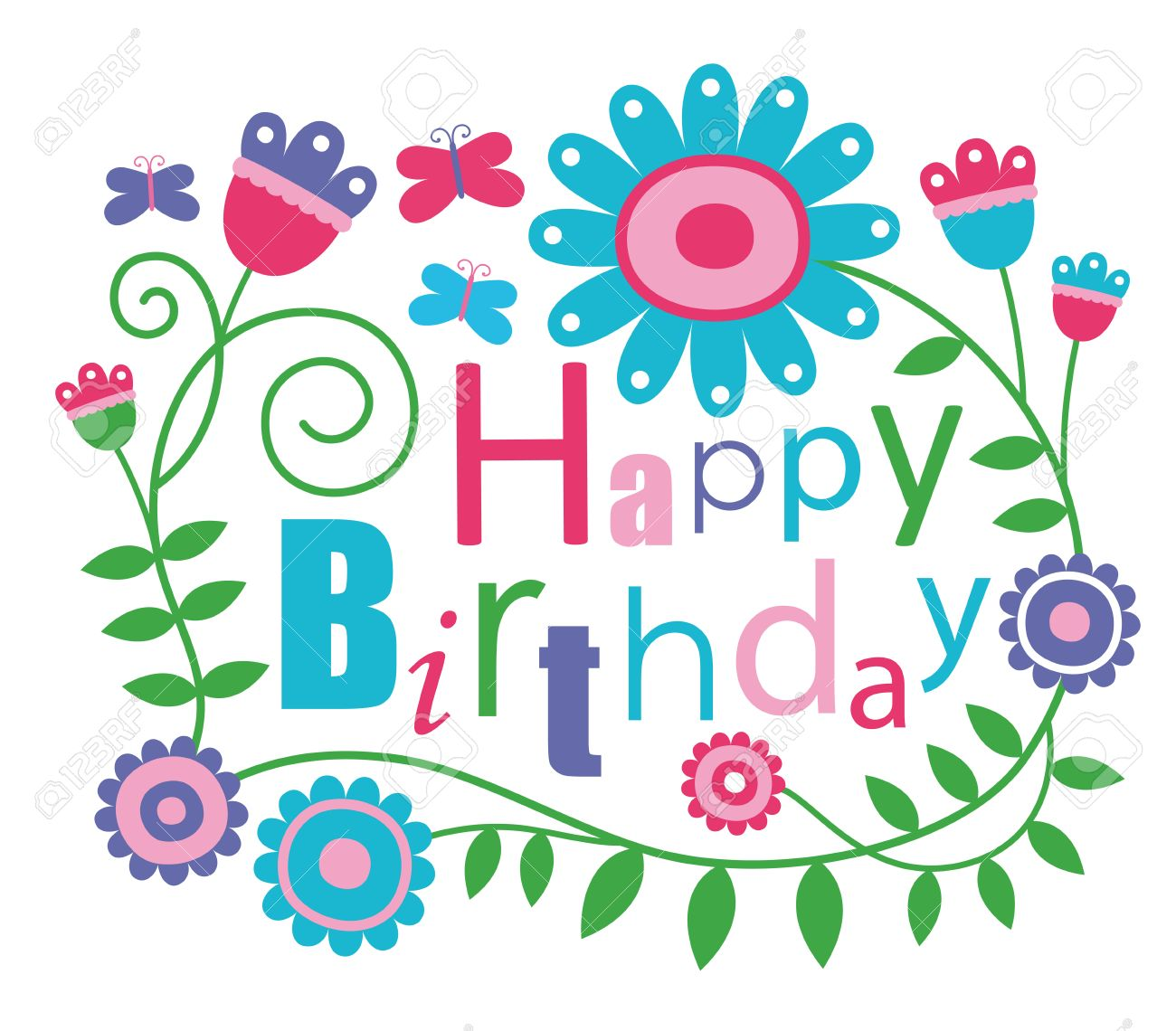 Cute Happy Birthday Card Royalty Free Cliparts Vectors And – Happy Birthday Card Cute