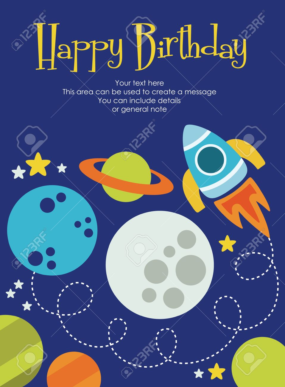 Space Happy Birthday Card Design Vector Illustration Royalty Free – Happy Birthday Card Design Free