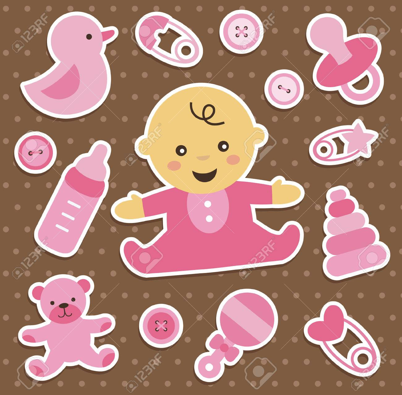 Baby Girl Stickers Collection Vector Illustration