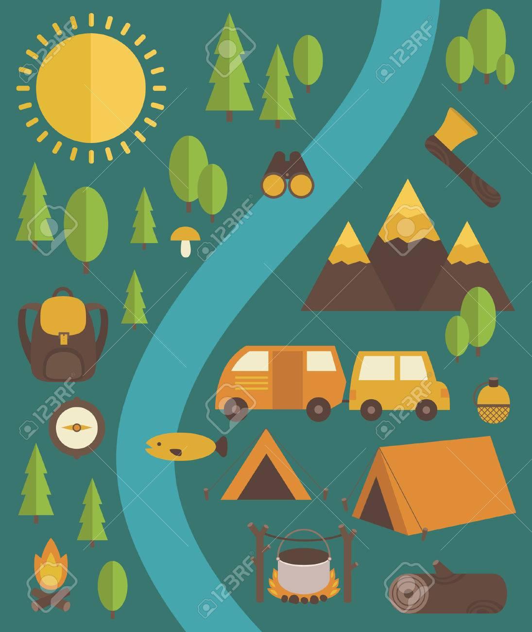 Vector - summer camp card Summer Camp Vector