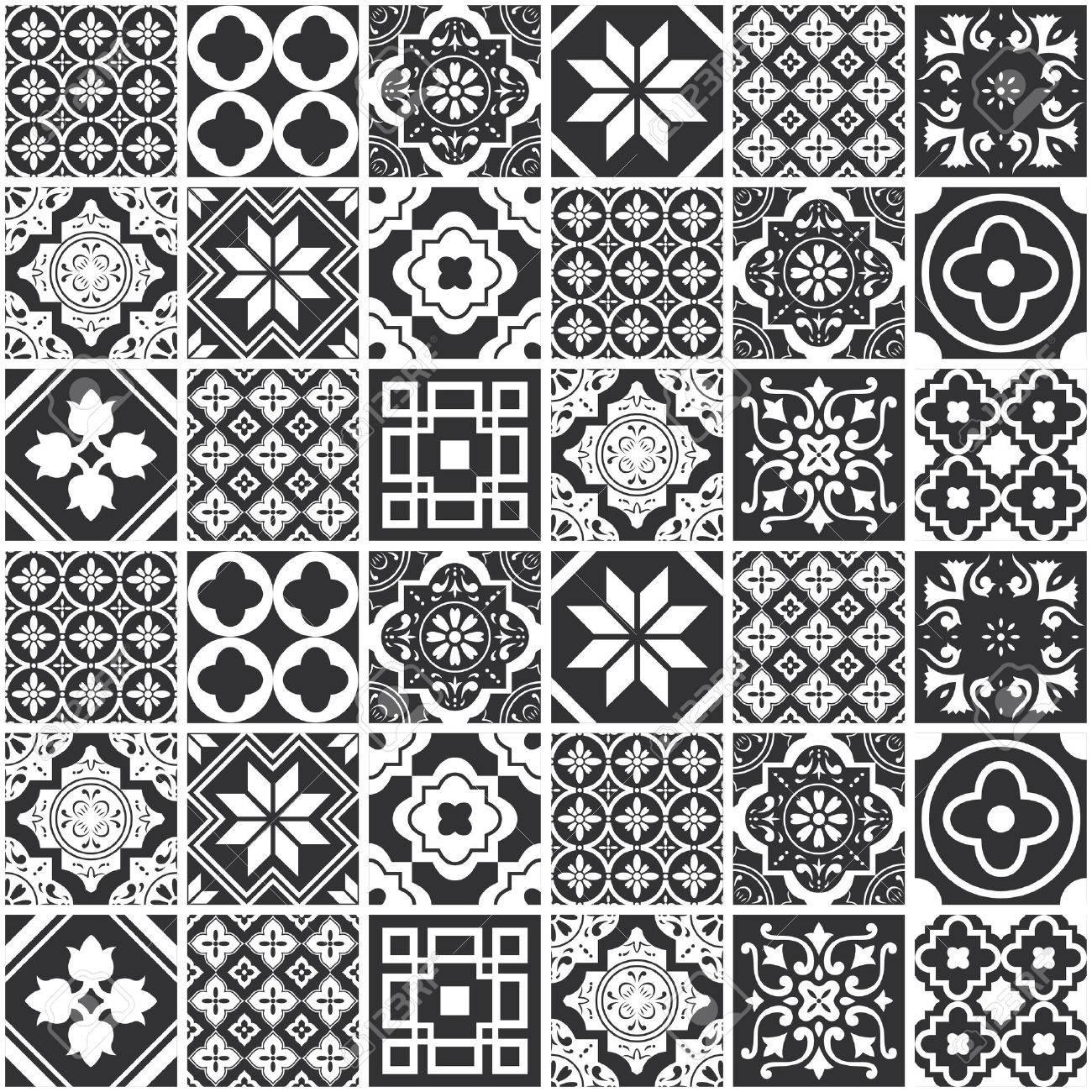 Decorative monochrome tile pattern design. Vector illustration. - 68119230