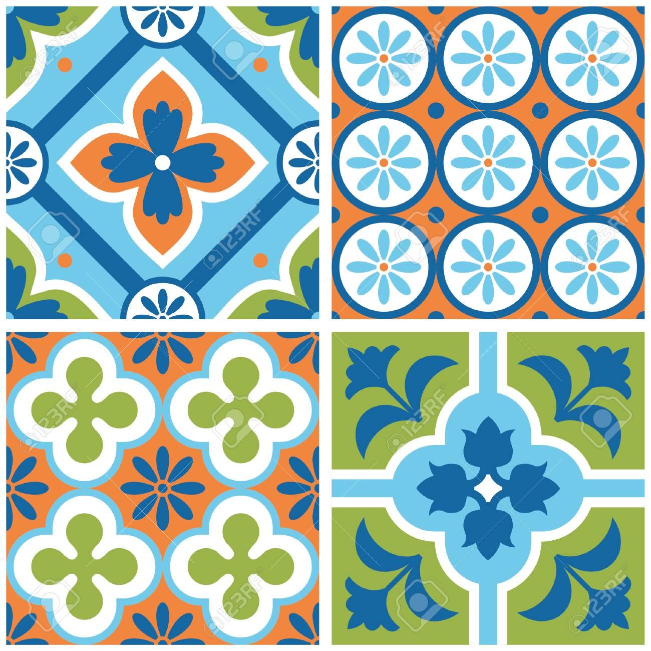 Decorative Colorful Tile Pattern Design. Vector Illustration ...