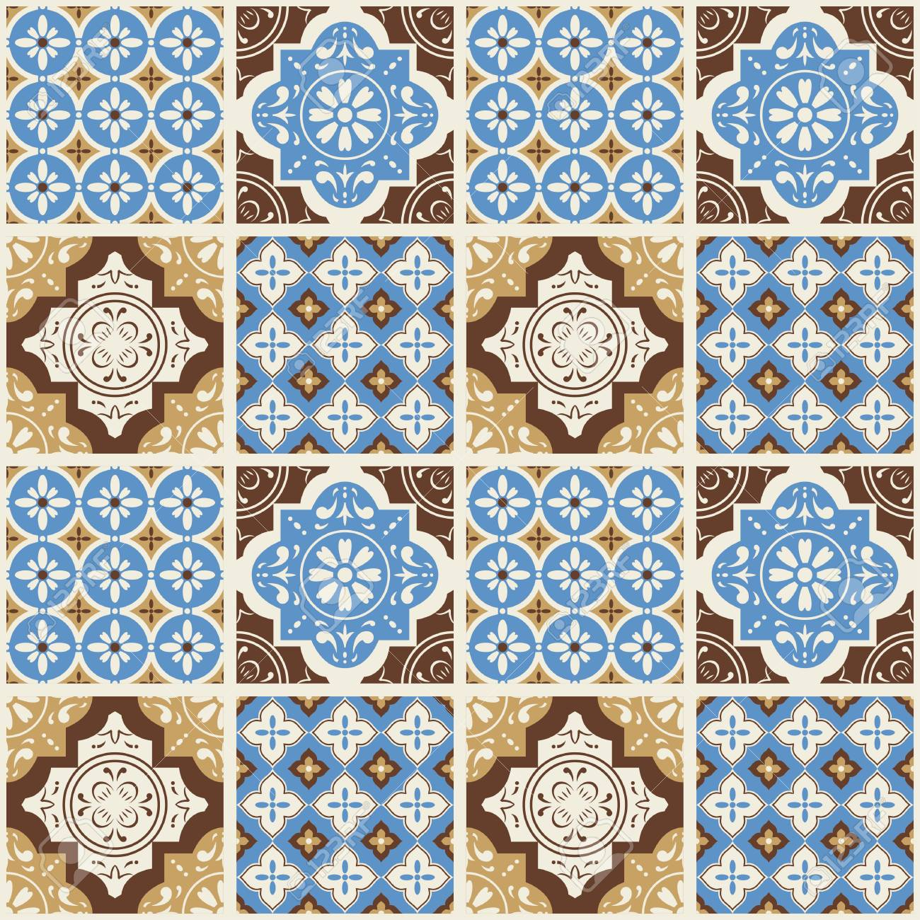 Decorative Tile Pattern Design. Vector Illustration. Royalty Free ...