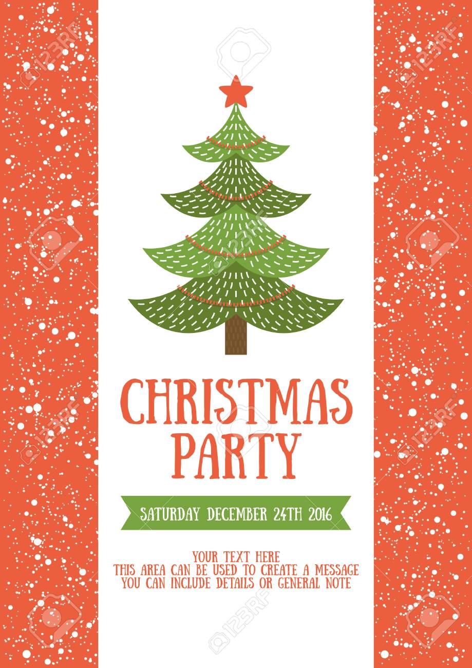 Christmas Party Invitation Card Design Vector Illustration