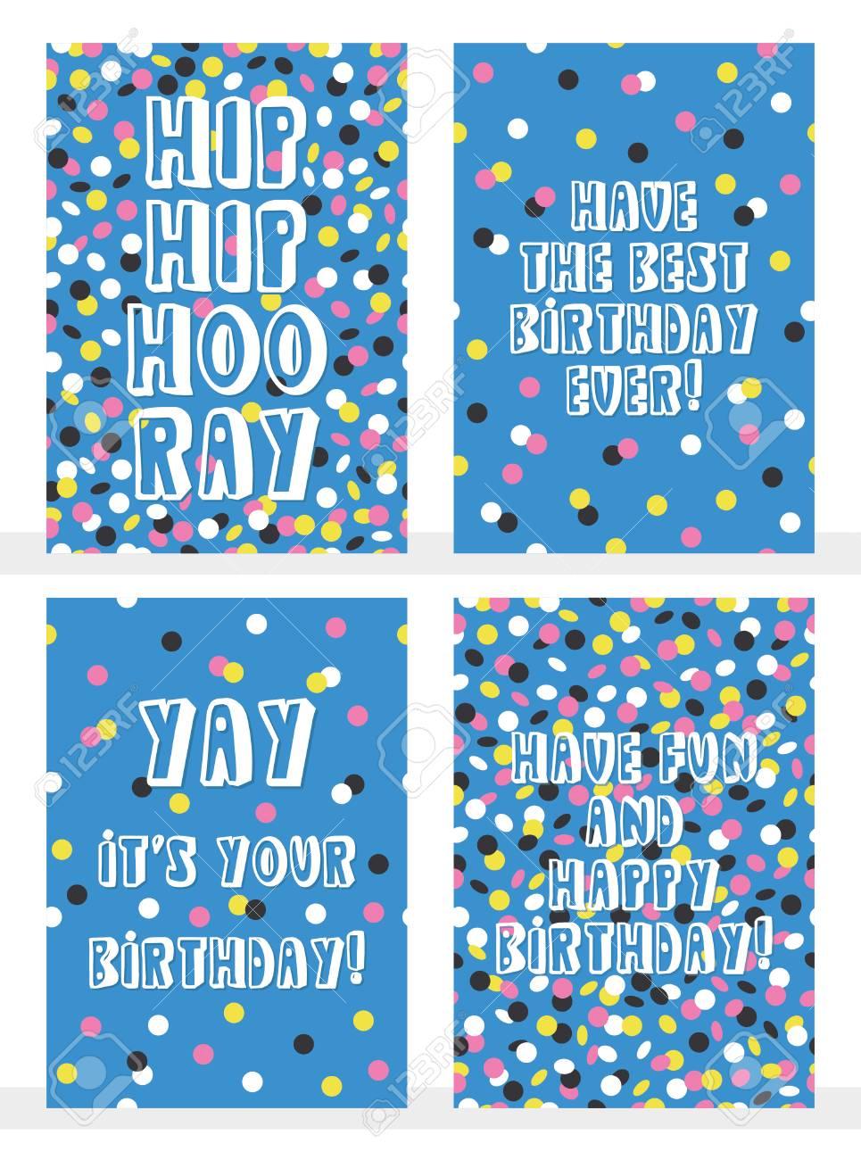Set Of 4 Happy Birthday Greeting Cards With Joyful Confetti