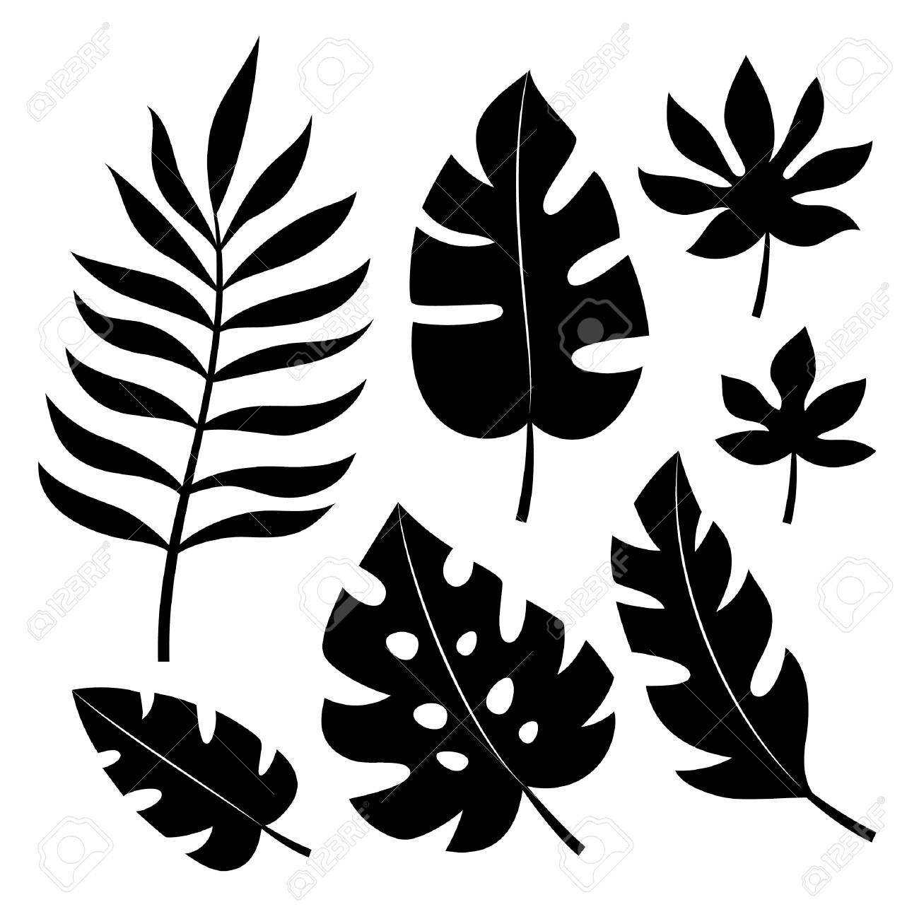 Set Of Tropical Leaves Vector Illustration Royalty Free Cliparts Vectors And Stock Illustration Image 68563599 Tropical silhouette seamless vector pattern. set of tropical leaves vector illustration