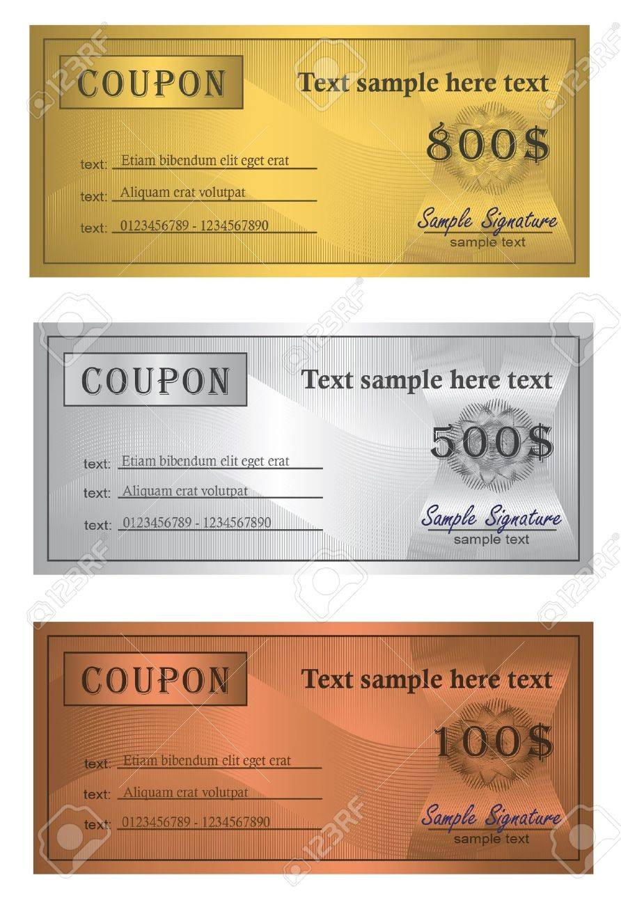 Coupon trio Gold Silver Bronze Stock Vector - 9263106