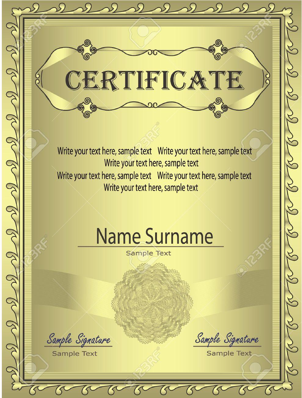 Certificate Gold frame vector Stock Vector - 9316273