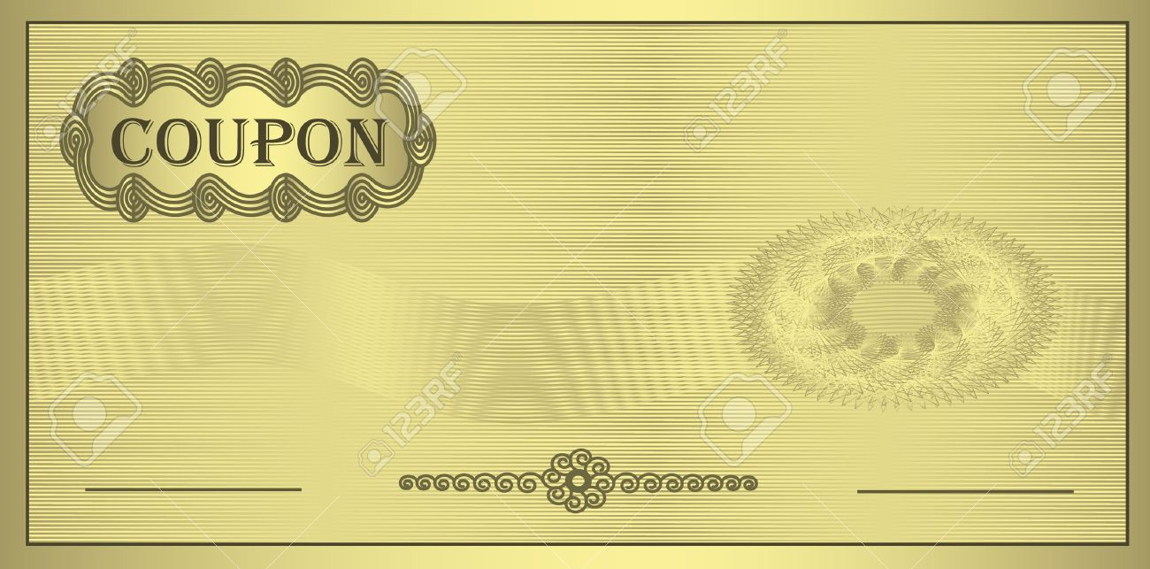Raster Coupon Gold Ornament Certificate Template Stock Photo ...