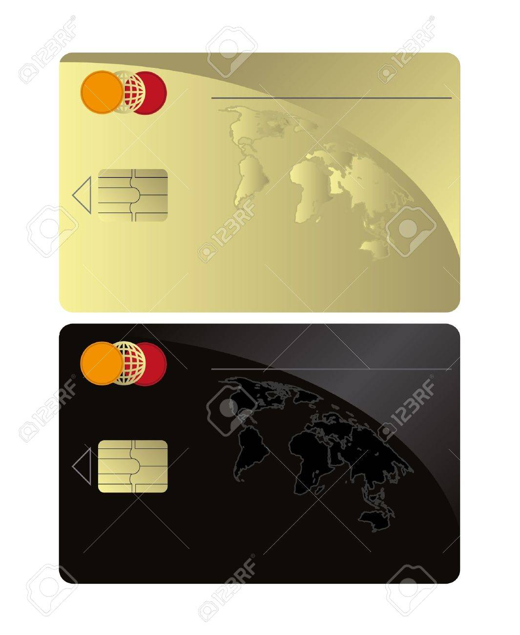 raster Credit card Black Gold template Stock Photo - 10222238