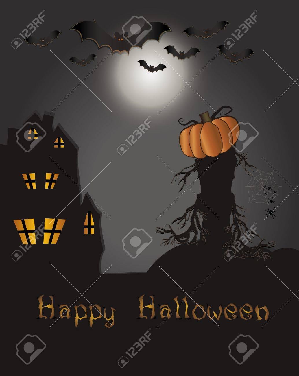 Halloween Happy card - bat pumpkin spider web house tree Stock Vector - 10292052