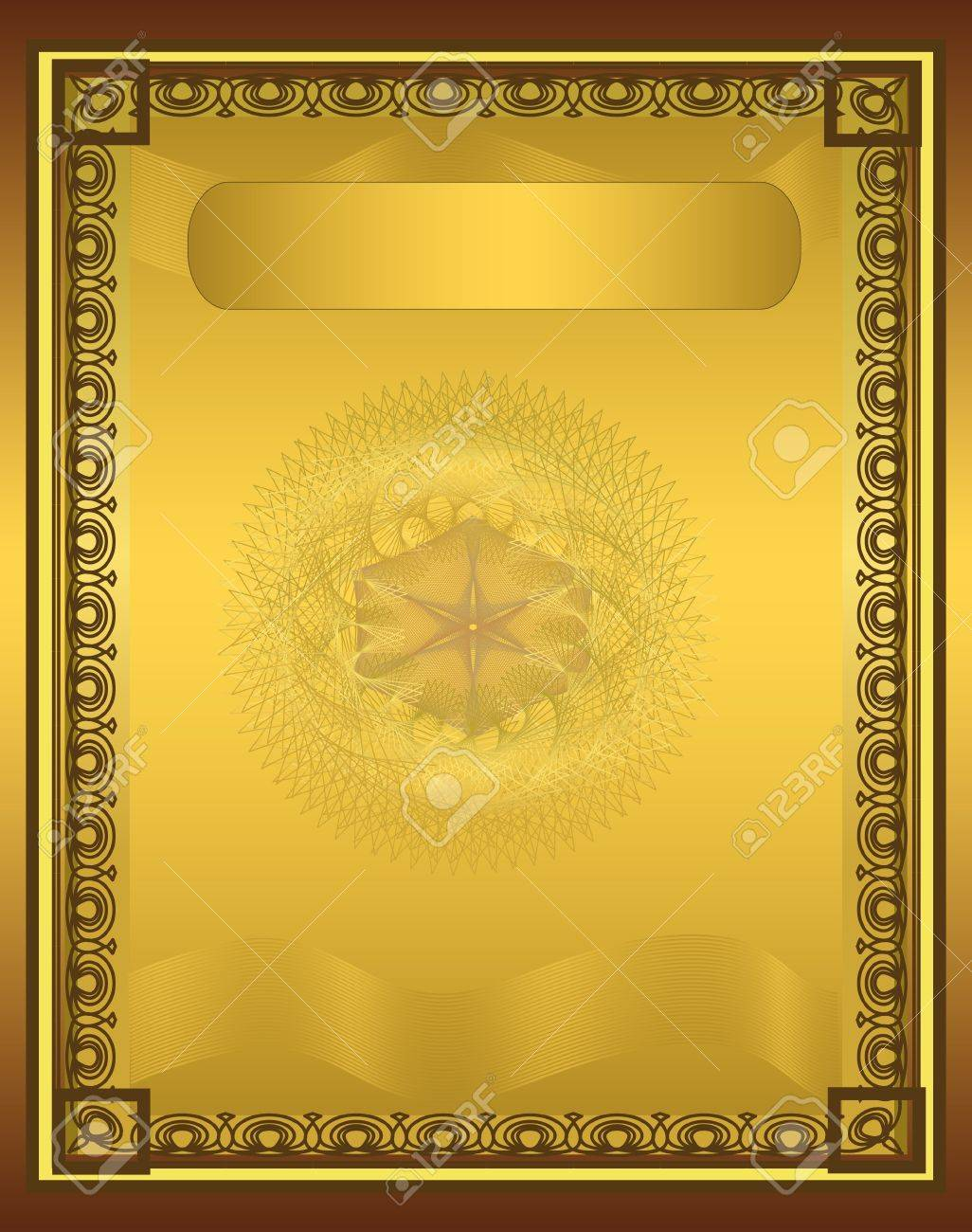 raster Certificate Diploma gold vertical Stock Photo - 10503375